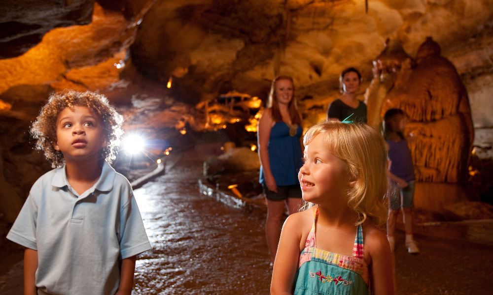 Kids inside caverns